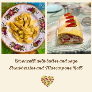 Virtual class casoncelli and strawberries Roll