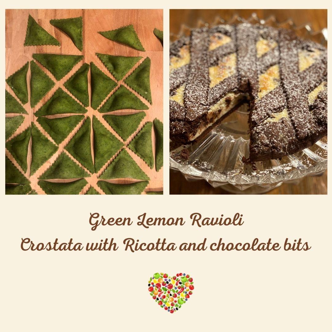 online class Green ravioli and chocolate crostata